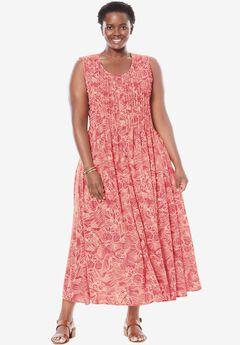 Sleeveless knit dress with front and back pintucks, BEGONIA JUNGLE, hi-res