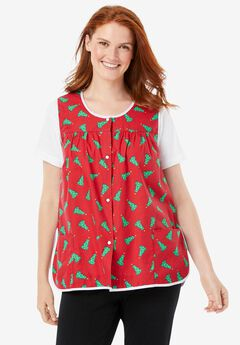 Snap-Front Apron by Only Necessities, CLASSIC RED TREES