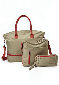 Canvas Tote 3-Piece Set, ANTIQUE SAGE SAHARA ORANGE, hi-res