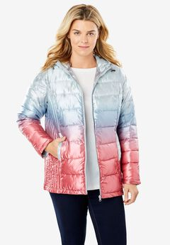 Packable Puffer Jacket, METALLIC PALE ICE OMBRE