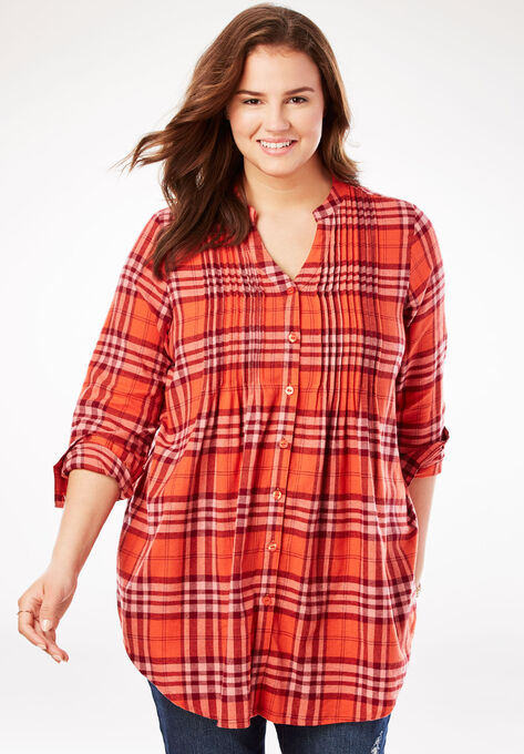 4a8faa65d55 Pintucked Flannel Shirt| Plus Size Tops | Woman Within