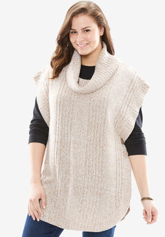 Marled cowl neck poncho, ALMOND TAUPE IVORY, hi-res