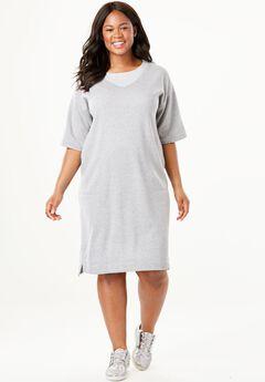 Short-Sleeve Fleece Dress, HEATHER GREY, hi-res