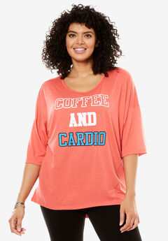 Scoop Neck Graphic Tee, CORAL ROSE COFFEE AND CARDIO