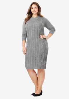 Cableknit Sweaterdress, MEDIUM HEATHER GREY