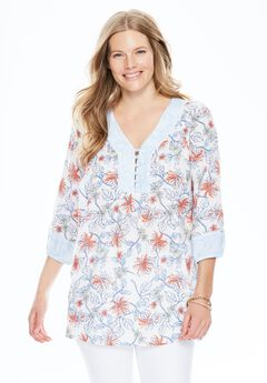Mixed print blouse, SUGAR CORAL ILLUSTRATED FLORAL, hi-res
