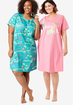 2-Pack Sleepshirt by Dreams & Co.®, AQUAMARINE HAPPY HOUR