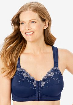 Front-Close Embroidered Wireless Posture Bra by Comfort Choice®, EVENING BLUE FLORAL