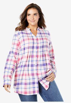 Pintucked Flannel Shirt, PINK PLAID