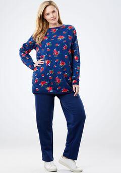 2-pc Fleece sweatsuit, EVENING BLUE PAINTERLY ROSE, hi-res