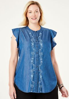 Pintucked Button-Down Tunic by Chelsea Studio®, INDIGO FLORAL, hi-res
