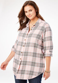 Classic Flannel Shirt, GREY PLAID