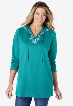 Embroidered Sweatshirt Tunic, WATERFALL
