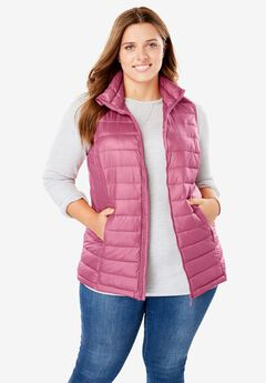 Packable Puffer Vest, ROSE BLOOM