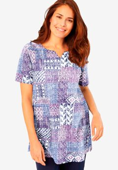 Top in soft knit with patchwork print,