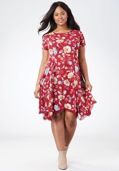 Short Crepe Dress, RICH BURGUNDY SOFT FLORAL, hi-res