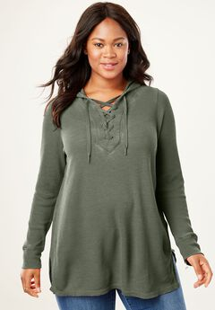 Lace-Up Hooded Thermal Sweatshirt, SAGE GRASS