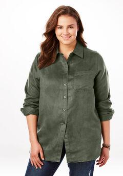 Soft Moleskin Button Down Shirt, SAGE GRASS