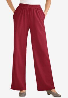 7-Day Knit Wide Leg Pant, POMEGRANATE