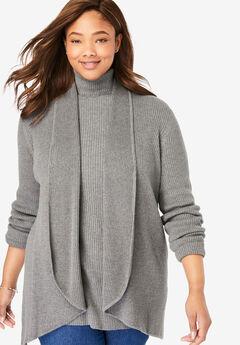 Rib Knit Open Front Cardigan Sweater, MEDIUM HEATHER GREY