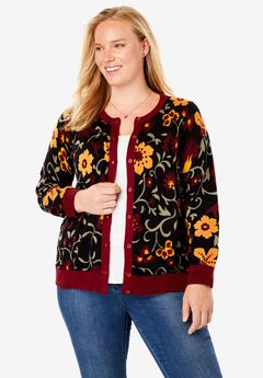 Long Sleeve Perfect Cardigan, BLACK FESTIVE FLORAL