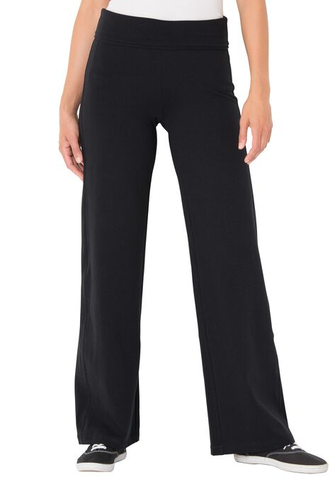 Stretch Cotton Wide Leg Pant Plus Size Tall Woman Within