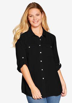 Long sleeve utility shirt, BLACK, hi-res