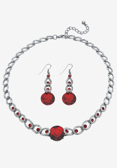 Silver Tone Collar Necklace and Earring Set, Simulated Birthstone by PalmBeach Jewelry,