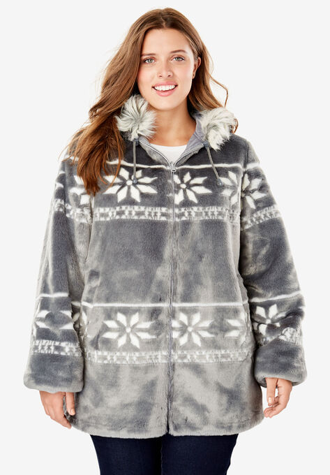 a372932d7bc Faux Fur Snowflake Print Hooded Jacket
