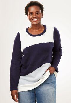 Metallic Colorblock Sweater, NAVY CAMO, hi-res