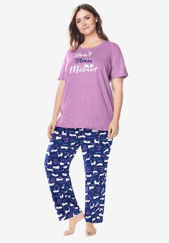 Graphic Tee PJ Set by Dreams & Co®, EVENING BLUE MEOW
