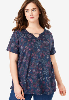 Perfect Printed Keyhole Tee,