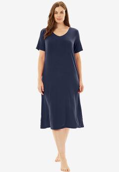 Ribbed Short Lounge Dress by Dreams & Co.®, NAVY, hi-res