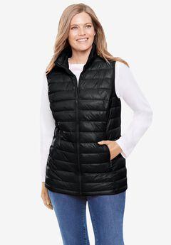Packable Puffer Vest, BLACK