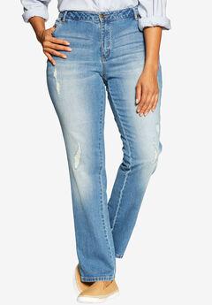Straight Leg Stretch Jean, DISTRESSED