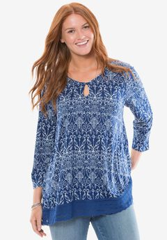Chelsea Studio® Lace trim tunic, BLUE FLOWER SCROLL, hi-res