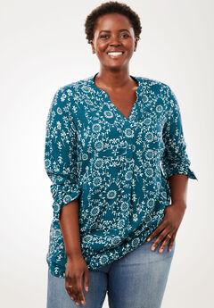 Tab-Front Long Sleeve Shirt, BLUE TEAL CIRCLE FLORAL