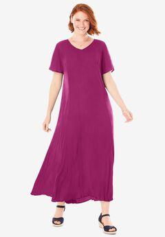 Crinkle Dress, RASPBERRY