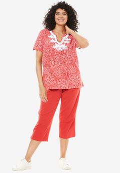 2-piece kurta tunic set, HOT RED DAISY PATCH, hi-res