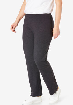 Stretch Cotton Bootcut Yoga Pant, HEATHER CHARCOAL, hi-res