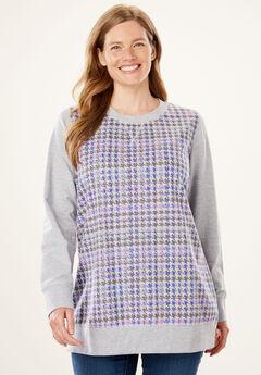 French Terry sweatshirt, HEATHER GREY HOUNDSTOOTH