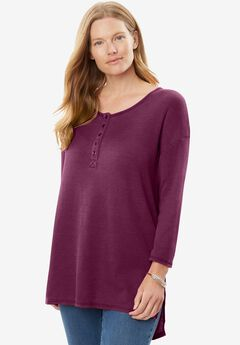 Washed Thermal High-Low Henley Tunic,
