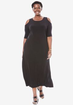 Cold-shoulder A-line maxi dress, BLACK, hi-res