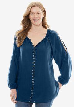 Studded Cold-Shoulder Blouse,