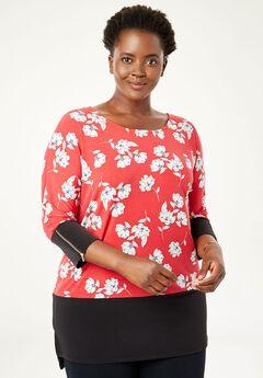 Color Block Zip-Sleeve Tunic,