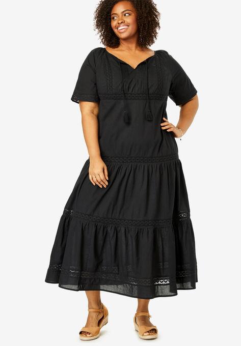 Crochet Trim Tassel-Tie Dress