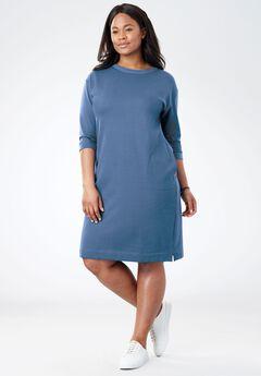 Soft Fleece Sweatshirt Dress, DUSTY INDIGO