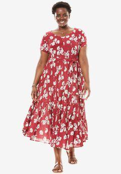 Tiered Floral Crinkle Dress,