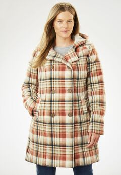 Double-Breasted Hooded Fleece Peacoat, PINK KHAKI PLAID (PRINT)