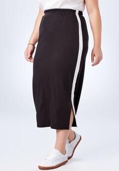 Side-Stripe Long Skirt, BLACK WHITE, hi-res